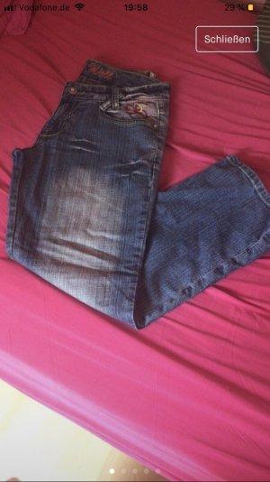 Jeans flare bleu acier-bleu azur