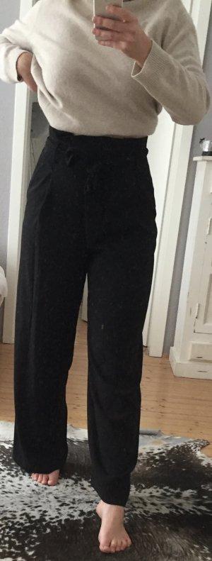 H&M Pantalón de pinza alto negro Poliéster