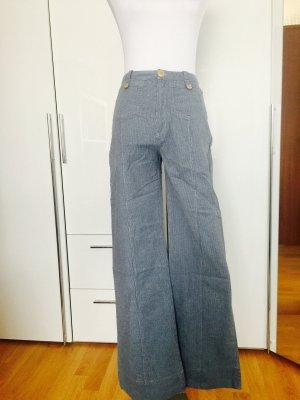 Zara Pantalon taille haute bleu acier-bleu azur