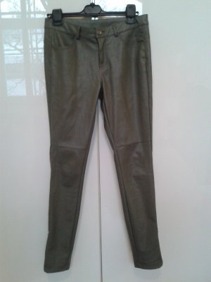 Leather Trousers green grey imitation leather