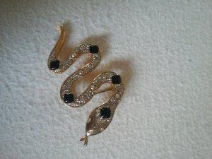 Schlangen Brosche Gold Schwarz