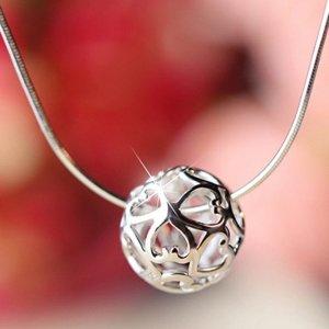 Schlangenkette 925er Silber mit Kugel-Anhänger aus Herzchen