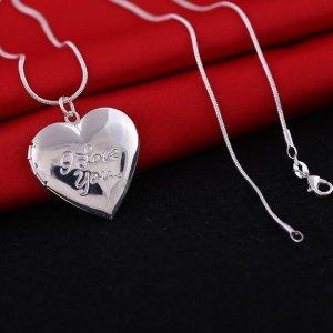 Schlangenkette 925er silber mit Medaillon / Amulett zum öffnen - Herz - Liebe