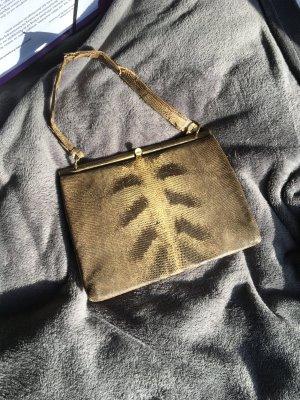 Schlangenleder Handtasche Vintage edel Henkel Träger Tasche Schlange braun Kroko Reptilien  Leder beige Muster