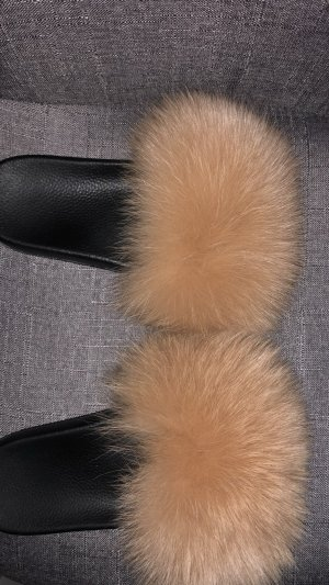 Schlapfen Fell Pantoletten slippers Fur camel