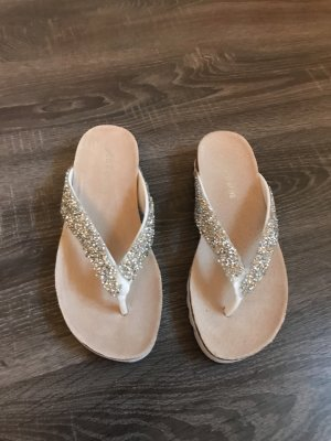 Toe-Post sandals white-silver-colored