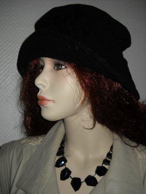 Schlapphut Hat schwarz Stoff Wolle Hut breite Krempe one size S H M L 36 38 40