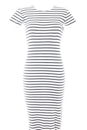 Tube Dress white-dark blue striped pattern casual look
