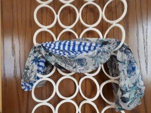 Scaldacollo bianco-blu acciaio