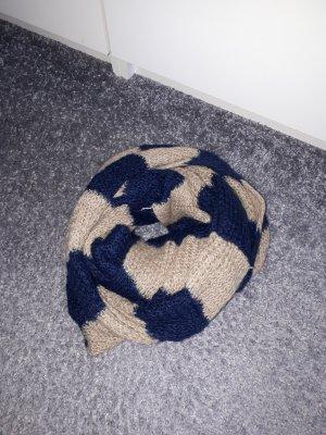 H&M Wollen sjaal beige-donkerblauw
