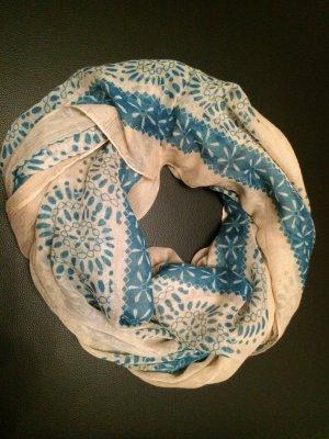 Écharpe tube blanc cassé-bleu fluo