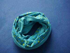 Tube Scarf turquoise-lime yellow cotton