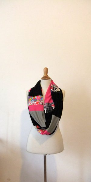 Schlauchschal, pink, grau, Londonprint
