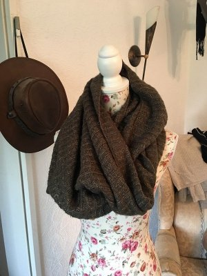 H&M Tube Scarf dark brown-gold-colored