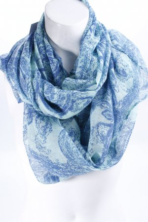 Tube Scarf turquoise-steel blue floral pattern simple style