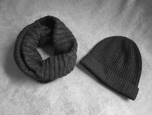 Schlauchschal und Mütze Schwarz Wollmix H&M