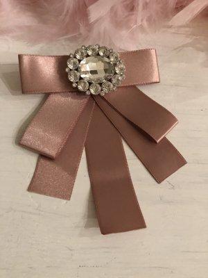 Schleife rosa silber Brosche