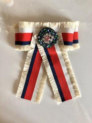 Schleifenbrosche Schleife Brosche Strass Perlen Anstecker Handmade Beige