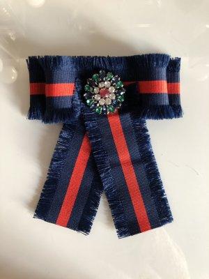 Schleifenbrosche Schleife Brosche Strass Perlen Anstecker Handmade dunkelblau