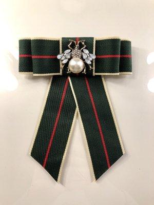 Schleifenbrosche Schleife Brosche Strass Perlen Anstecker in dunkelgrün