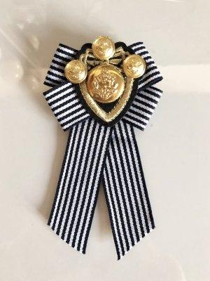 Schleifenbrosche Trend Anhänger Marine Emblem Gold