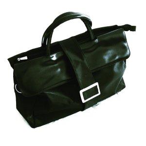 schlichte schwarze tasche / vintage / classy / businesslook /