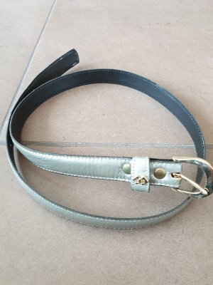 Schlichter schmaler Gürtel, Taillengürtel, silber/ goldene Schnalle, Gr. 70