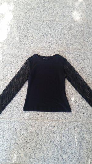 Schlichtes Ripped Shirt Fischnetz Ärmel Casual Gothic Punk