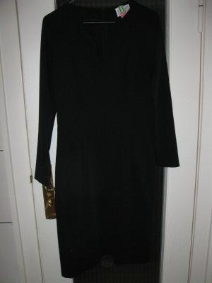 Schlichtes schwarzes Kleid mit langen Ärmeln von einer Modedesignerin, D34-36