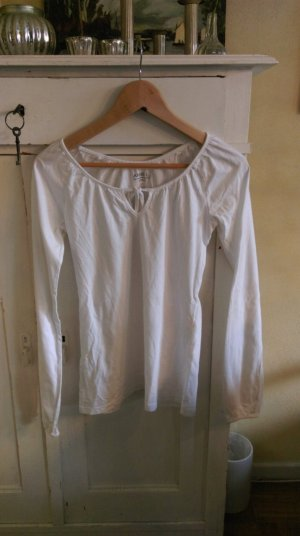 schlichtes, weißes Longarmshirt in 34