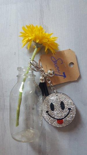 Schlüssel- /Taschenanhänger cooler glitzer Smiley beidseitig *NEU*