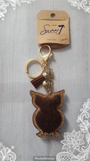 Schlüssel-/ Taschenanhänger EULE mit glitzer und gold