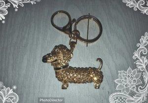 Schlüssel-/ Taschenanhänger glitzer Dackel gold *NEU* !