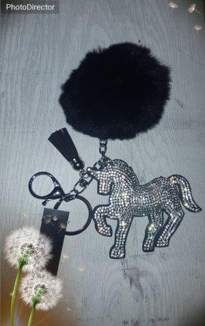 Schlüssel- /Taschenanhänger glitzer Einhorn, Unicorn mit Puschel und kleiner Quaste
