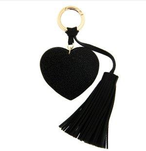 Schlüssel-/Taschenanhänger glitzer Herz, Quaste, schwarz/gold