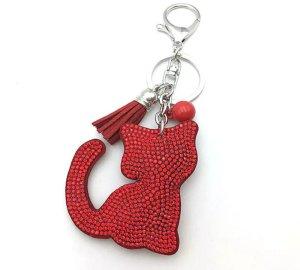 Porte-clés argenté-rouge tissu mixte