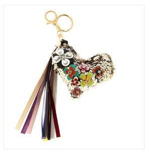 Schlüssel-/ Taschenanhänger Herz mit Pailetten, Perlen NEU ♥️