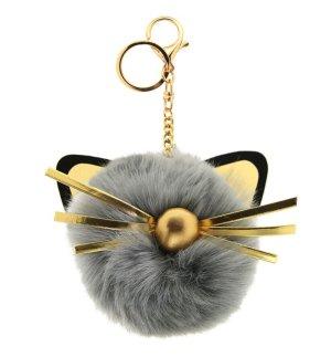 Schlüssel-/ Taschenanhänger Katze, Cat, grau, gold *neu*