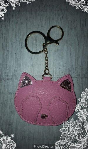 Schlüssel-/ Taschenanhänger Katze, Cat rosa mit glitzer NEU