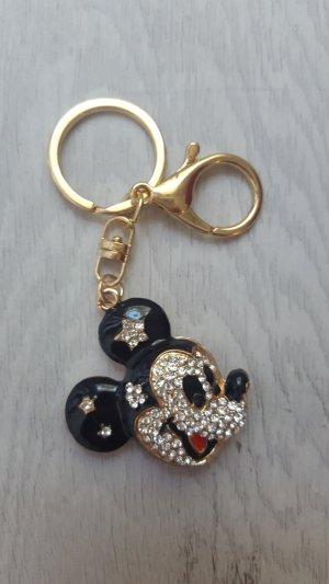 Schlüssel-/Taschenanhänger Mickey Mouse aus Metall schwarz/rot/gold NEU