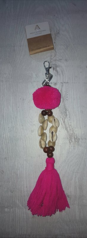 Schlüssel-/Taschenanhänger Muscheln mit Bommel und Quaste, pink / silber