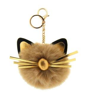Schlüssel-/ Taschenanhänger süße Katze, Cat im braun, gold, schwarz