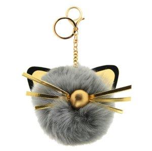 Schlüssel-/ Taschenanhänger süße Katze, Cat im grau, gold, schwarz