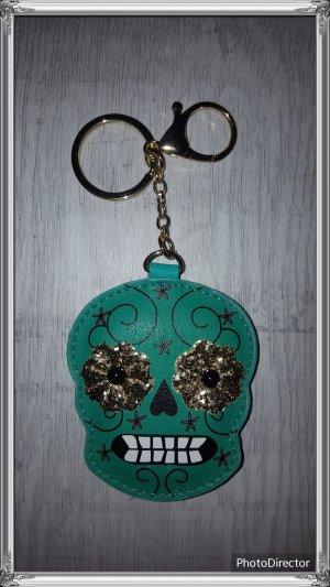 Schlüssel-/ Taschenanhänger Totenkopf, Skull grün mit glitzer NEU