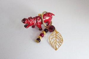 Schlüsselanhänger Afrika Nilpferd Pink Gold Unikat Blogger DIY