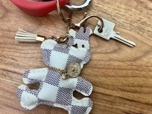 Porte-clés gris clair-blanc cassé