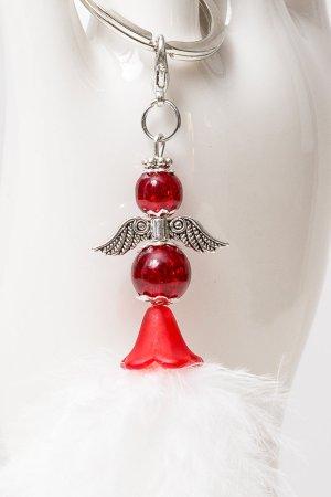 Porte-clés blanc-rouge brique