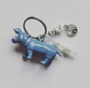 Porte-clés bleu fluo-argenté