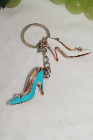 Porte-clés turquoise-blanc
