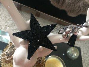 Schlüsselanhänger Stern mit Strass Schwarz